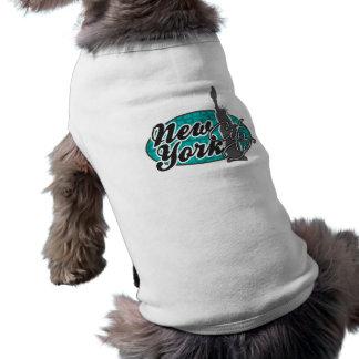 New York; Turkos kvadrerar; Retro T-shirt För Hundar