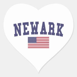 Newark NJ US flagga Hjärtformat Klistermärke