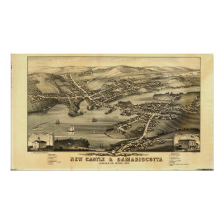 Newcastle & Damariscotta Maine 1878 panorama- Poster