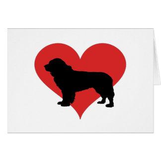 Newfoundland med en stor röd hjärta hälsningskort