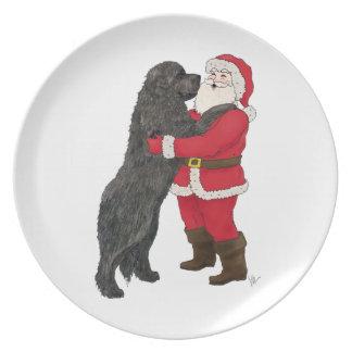 Newfoundland pläterar den Jowly julen Tallrik
