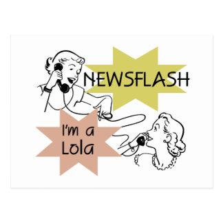 Newsflash mig förmiddag en Lola T-tröja och gåvor Vykort