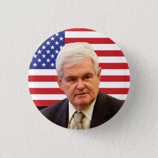 Newt Gingrich & U.S.-flagga Mini Knapp Rund 3.2 Cm