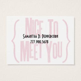 Nice som möter dig visitkort