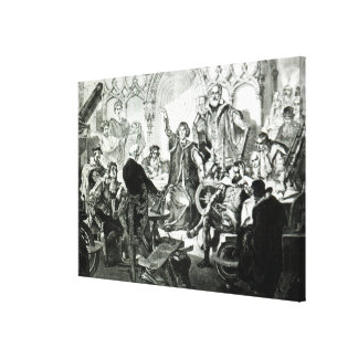 Nicolaus Copernicus som förklarar hans teori Canvastryck