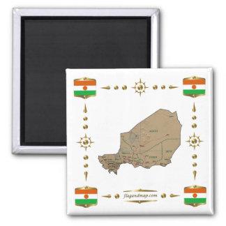 Niger karta + Flaggormagnet Magnet