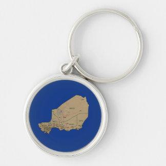 Niger karta Keychain Rund Silverfärgad Nyckelring