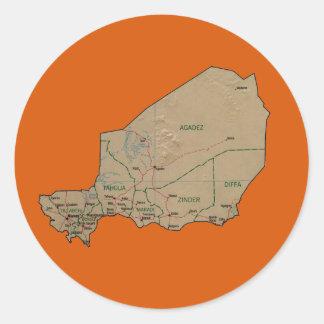 Niger kartaklistermärke runt klistermärke
