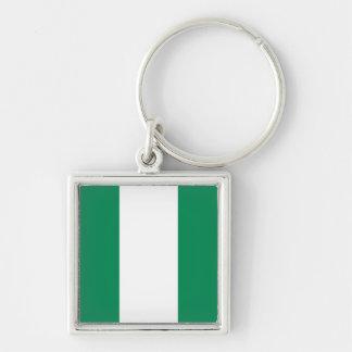 Nigeria flagga Keychain Fyrkantig Silverfärgad Nyckelring