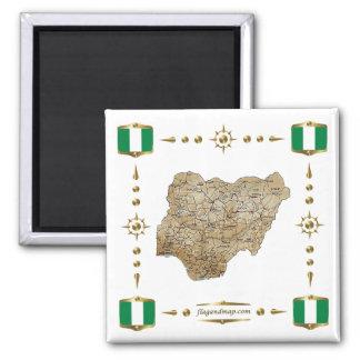 Nigeria karta + Flaggormagnet Magnet