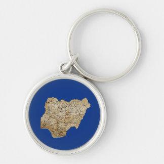 Nigeria karta Keychain Rund Silverfärgad Nyckelring