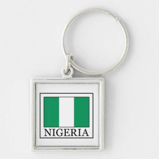 Nigeria keychain fyrkantig silverfärgad nyckelring