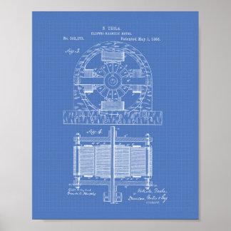 Nikola Tesla 1888 patenterad konst - ritning Poster