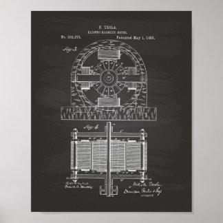 Nikola Tesla 1888 patenterad konst - svart tavla Poster