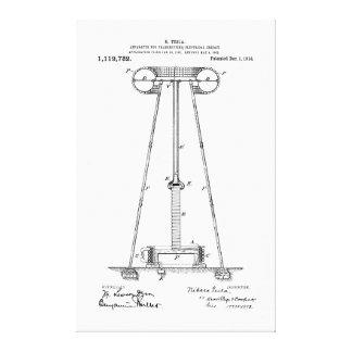 Nikola Tesla energiöverföring Pantent US1119732 Canvastryck