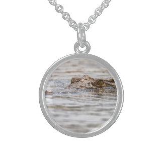 Nile krokodil sterling silver halsband
