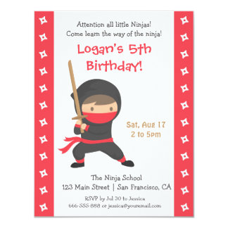 Ninja med inbjudningar för Katana barns