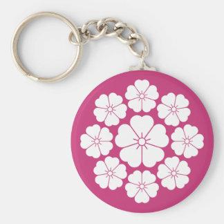 Nio stjärna-stil körsbärblommar rund nyckelring