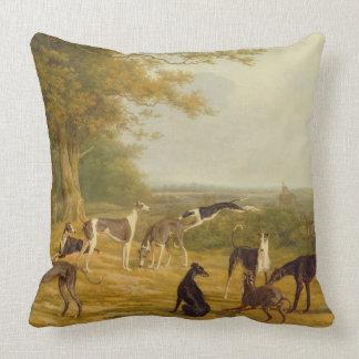Nio vinthundar i en landskap (olja på kanfas) kudde