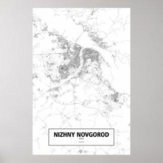 Nizhny Novgorod Ryssland (svarten på vit) Poster