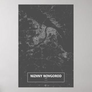 Nizhny Novgorod Ryssland (vit på svart) Poster