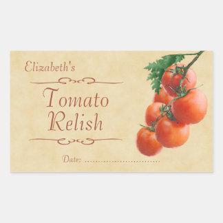 Njutning eller på burk för tomat rektangulärt klistermärke