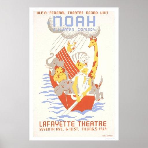 Noah & ark 1938 WPA Affisch