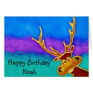 Noah enfaldigt fullvuxen hankronhjortkort för hälsningskort