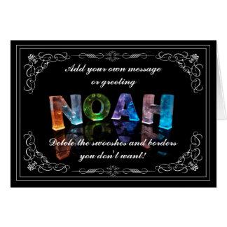 Noah - namn i ljushälsningkortet (fotoet) hälsningskort