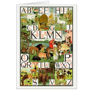 Noahs ABC-alfabetet kartlägger på engelskt Hälsningskort