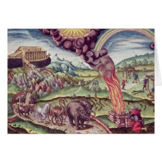 Noahs ark, illustration från 'Brevis Narratio Hälsningskort