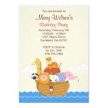 Noahs arkfödelsedagsfest inbjudan 12,7 x 17,8 cm inbjudningskort