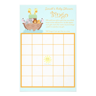 """Noahs bingoen för arkbaby shower Cards 5,5"""" x Reklamblad 14 X 21,5 Cm"""