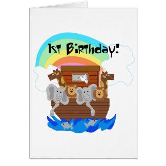Noahs Tshirts och gåvor för födelsedag för ark 1st Hälsningskort