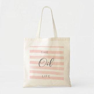 Nödvändig olje- toto för rosa- och vitrand tygkasse