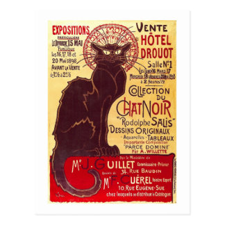 Noir vintagechatta, Vente Hôtel Drouot Steinlen Vykort