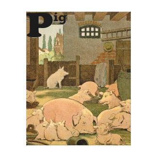 Nöjda grisar på lantgårdalfabetet canvastryck
