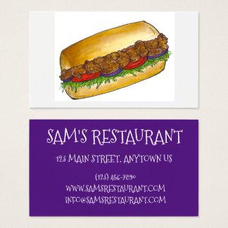 NOLA New Orleans Louisiana räkaPo'boy smörgås Visitkort