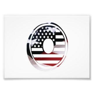 Nolla för Monogram för USA flaggaamerikan initial Fototryck