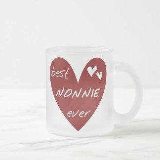 Nonnie för röd hjärta bäst någonsin T-tröja och Frostad Glasmugg