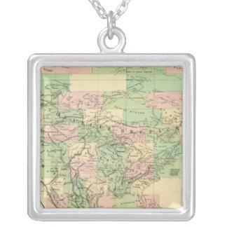 Nordamerika enhetskarta silverpläterat halsband