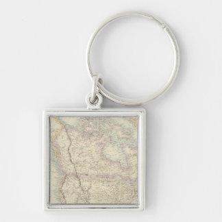 Nordamerika Fyrkantig Silverfärgad Nyckelring