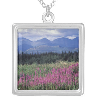 Nordamerika Kanada, Yukon. Fireweedblom Silverpläterat Halsband