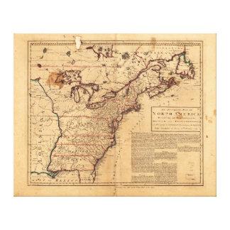 Nordamerika karta av Robert Sayer Feb 10th 1763 Canvastryck