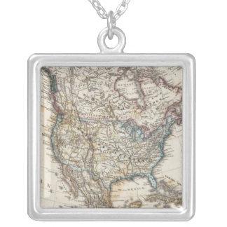 Nordamerika karta vid Stieler Silverpläterat Halsband