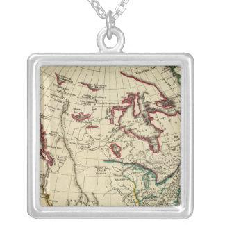 Nordamerika med skisserade gränser halsband med fyrkantigt hängsmycke