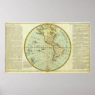 Nordamerika och South America Poster