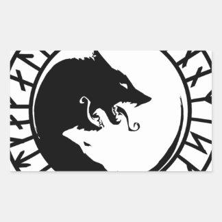 Nordiska runor för Runic förfärliga vargviking Rektangulärt Klistermärke
