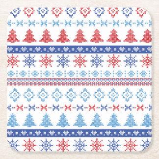 Nordiskt julmönster 2 underlägg papper kvadrat