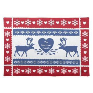 Nordiskt ren-, snowflake- och hjärtamönster bordstablett